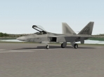 The Lockheed Martin/Boeing F-22 Raptor on an X-Plane 10 runway