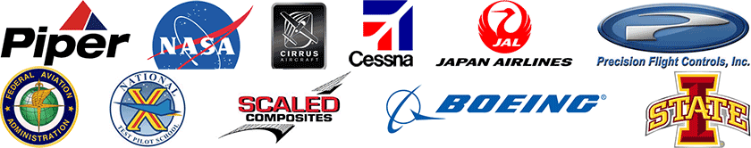 The X-Plane flight simulator is used by Piper Aircraft, NASA, Cirrus Aircraft, Cessna Aircraft, Japan Airlines, Precision Flight Controls, the FAA, National Pilot Test School, Scaled Composites, Boeing, and Iowa State University