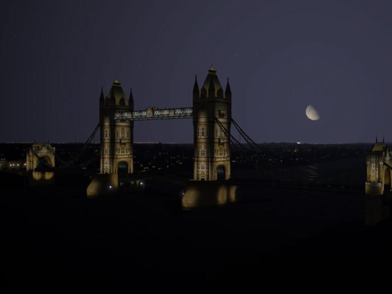 X-Plane 11 Landmarks - Tower Bridge night lights